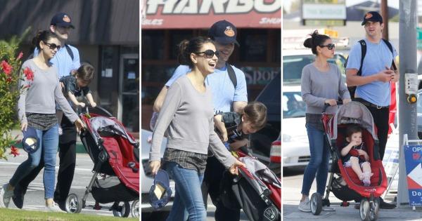 Мила Кунис и Ештон Кучер со малата ќеркичка во Лос Анџелес