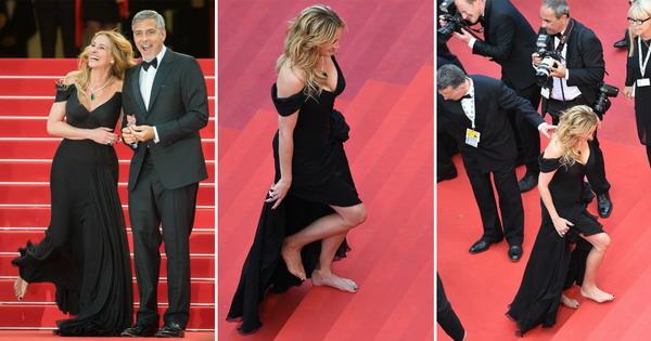 Џулија Робертс ги фрли обувките и зачекори боса на црвениот тепих во Кан