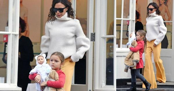 Викторија Бекам со слатката ќеркичка Харпер