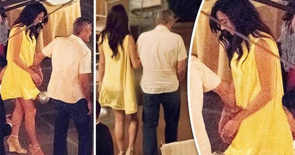 Амал Клуни шармантна во жолто покрај Џорџ