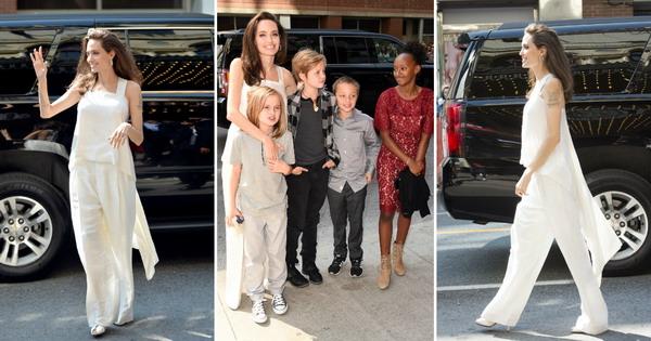 Шармантна во бело  Анџелина Џоли со децата на