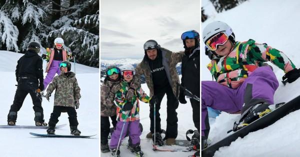 Зимска забава  Дејвид Бекам со децата на скијање во