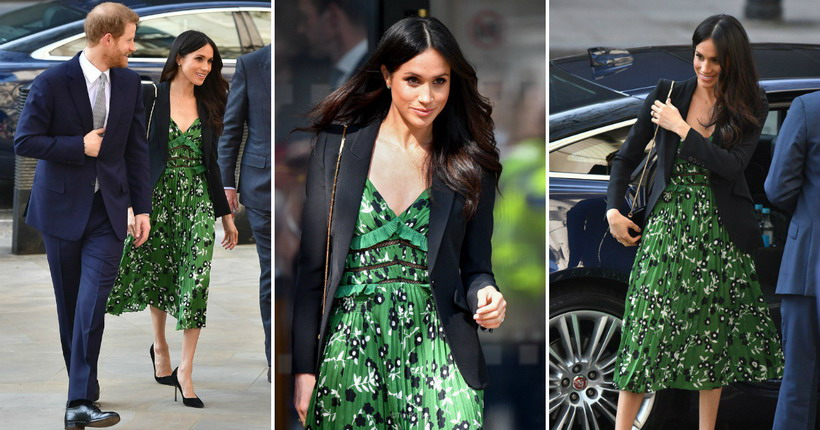Модерна елеганција  Меган Маркл во зелено црна